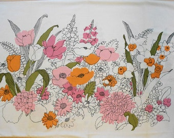Floral Vintage Pillow Case in Pink and Orange