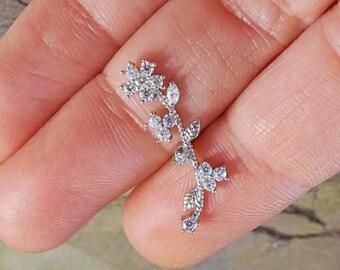 Crystal Flower Vine Ear Climbing Cartliage Earring Helix Piercing