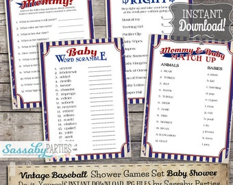 Vintage Baseball Baby Shower Games Pack - INSTANT DOWNLOAD - Baby Shower Printable  Party Games, Price is Right, Who knows Mommy, Match Up