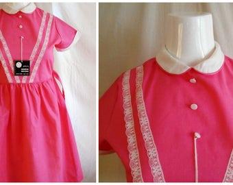 Vintage 1950's Girls Dress Hot Pink and White Full Skirt Deadstock Easter Dress