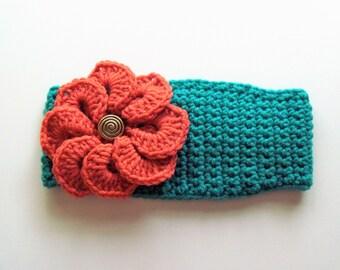 Adjustable Headband/Earwarmer with Flower - Jade with Coral Flower
