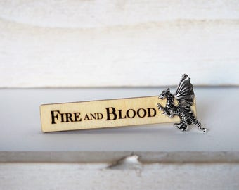 Dragon Tie Clip Fire and Blood Targaryen motto Laser Cut Dragon Tie Bar Dragon Game of Thrones Inspired