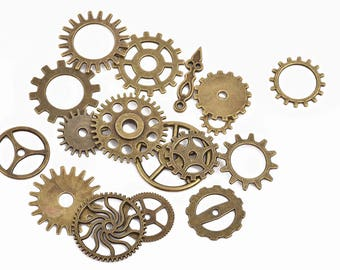 17 STEAMPUNK GEAR COG Charms, Bronze Gear Charms, Mixed Set faux watch parts, mixed styles and sizes, 12mm to 26mm, chb0497