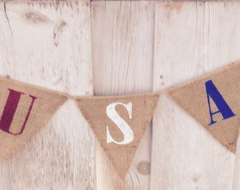 USA Burlap Banner | Patriotic Banner | Stars and Stripes | Memorial Day | Fourth of July | Summer Party