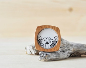 Hand-drawn wooden brooch - black and white drawing - Morning Village