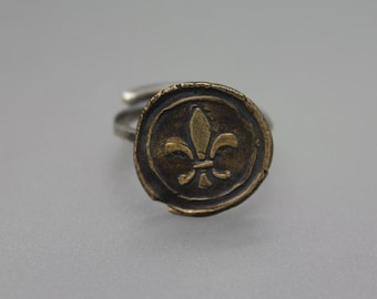 Adjustable Ring, Bronze Ring, Wax Seal Ring, Letter Seal Jewelry, Vintage Ring, Bronze Wax Seal, Fleur De Lis Ring, New Orleans Ring