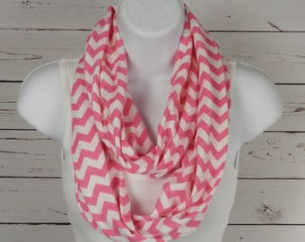 Cotton Knit Infinity Scarf Candy Pink and White Chevron Double Loop Scarf in a Soft Cotton Jersey Knit Handmade by Thimbledoodle