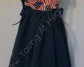 Kitchen Towel Dress, Red, White and Blue, Patriotic