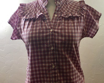 Vintage Blouse, Vintage Shirt, Ruffled Blouse, Cowgirl Shirt, Cowgirl Vintage, Plaid Shirt, Secretary Shirt, Secretary Blouse, Women's