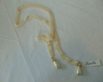 vintage marvella nwt pearl mesh crystal lariat necklace woven drops bridal wedding