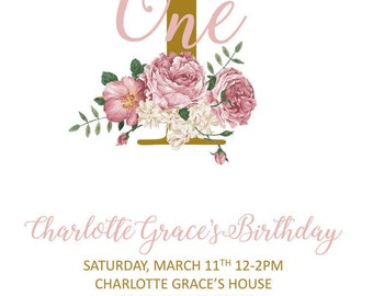 Flower and Gold First Birthday Invitation