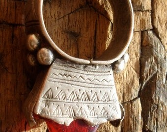 Silver red Niger Tuareg hand engraved  double sided pendant or ring