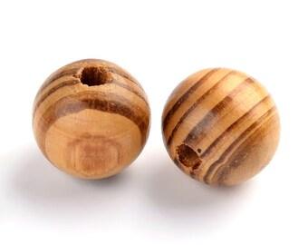 16mm Polished Striped Wood Beads -Set of 50