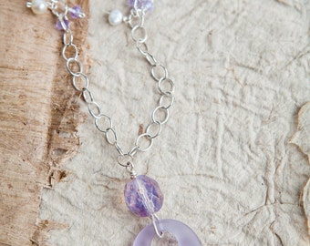 Lavender Sea Glass Necklace, Purple, Sea Glass Necklace, Lavender Necklace, Purple Necklace, Circle Necklace, Silver Necklace, Purple