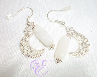 Celtic Crescent Moon with Moonstone Earrings