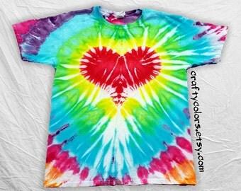 Tie Dye Heart Rainbow T Shirt Child Size Heart Tie Dye