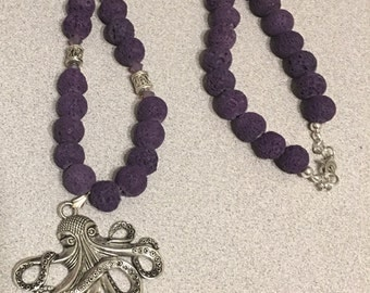 Octopus with Purple Lava Beads and Sterling Beads and Clasp Gifts for Her