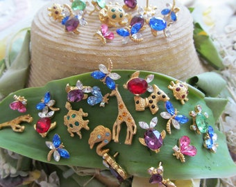 "Vintage Assorted ""Little Creatures ""Jeweled Mixed Scatter Pins"