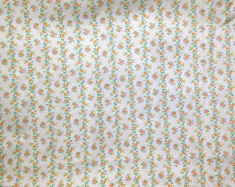 70's White Floral Striped Fabric . Thin Cotton . By the yard . orange blue green . simple spring wedding stripes