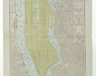 "1891 Vintage Map, New York City, 22""x19"",Cram's Unrivaled Atlas of the World Indexed,"