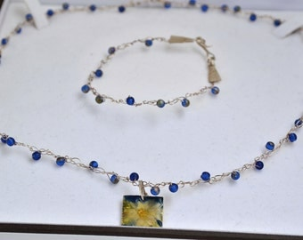 Pond Series Set Waterlily Necklace,  Matching Bracelet  fine silver knitted wire