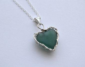Teal Genuine Sea Glass From Greece Hand Knitted Fine Silver Wire  Heart Pendant with 20 inch chain Necklace
