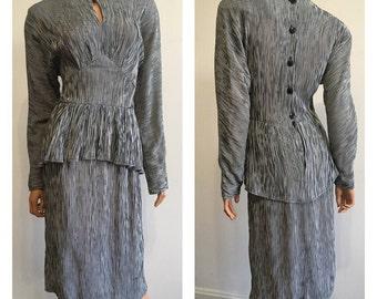 80's Does 40's Dress Black Stripped Dress 80's Dress Big Shoulders Dress 80's Party Dress Peplum Dress Moire Dress 1940's Inspired Dress S