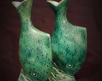 Ceramic Fish Bud Vase Set Vintage Handmade Ceramic - FREE Shipping