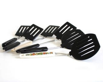 Plastic Spatulas: Ekco Round Pancake Turner, Ekco Short Handle, Koco Japan, Black Handle Korea, Hong Kong