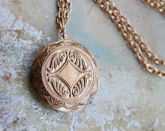 Round Photo Locket Necklace - Large Golden Keepsake Pendant on Long Chain