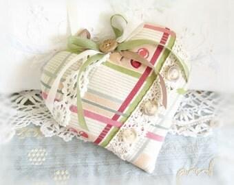 "Valentine Heart Ornament Fabric Heart Primitive Heart Door Hanger Heart  5""  Fabric Heart Handmade CharlotteStyle Decorative Folk Art"