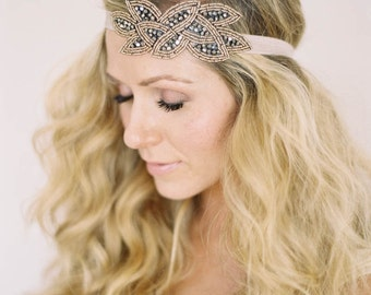Beaded Headband, Rhinestone Headband, Elastic Headband, Fashion Headband, Bridal Headband, Wedding Headband, Black Headband, Nude Headband