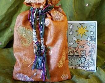 Orange Paisley Drawstring Bag with Beads and Charms, center cut, recycled sari, choice of crystal, moon charm, silk bag, tarot bag