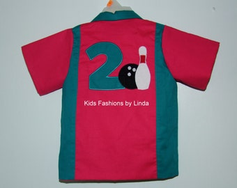 Pomegranate/Teal Birthday Bowling Shirt