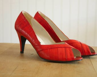 Vintage 1980's Red Eel Skin Peep Toe Pumps Heels 7