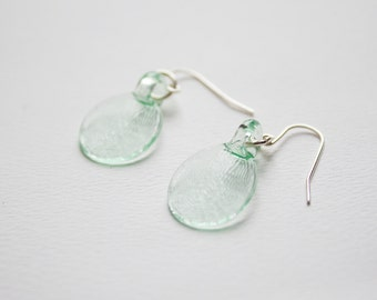 Pressed Hand Made Flameworked Lampworked Mint Glass Earrings on Gold or Silver Plated Ear Hooks