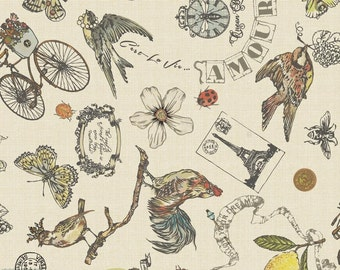 LAMINATED cotton fabric by the yard (similar to oilcloth) - Vintage - Bikes Butterflies Matte WIDE BPA free Food Safe Approved for children