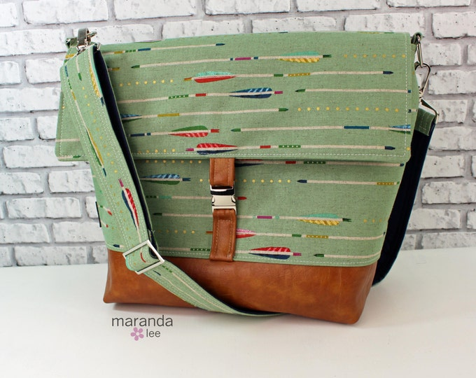 Lulu Large Flap Messenger Satchel  -Sage Arrows and PU Leather Travel Business Nappy Bag Stroller Attachment