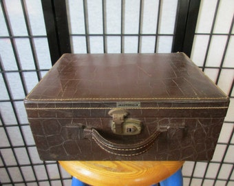 Vintage 1940s Shortrip Small Suitcase Train Case Faux Alligator Mahogany Brown Luggage Travel Vanity with Mirror