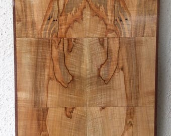 Bookmatched Ambrosia Maple & Walnut Abstract Wood Wall Art Artist Signed #194