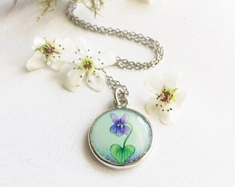 Springtime Jewelry, Green and Purple Silver Necklace, Violet Necklace, Violet Pendant, Spring Flower, Easter Necklace, violet purple