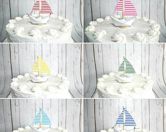 Mini Paper Sailboat Cake Topper- 14 Colors To Choose From