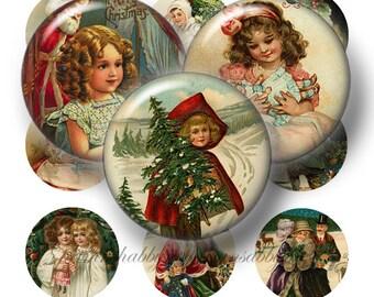 Vintage Christmas, Digital Collage Sheet, Bottle Cap Images, 1 Inch Circle, Instant Download, Digital Download, Printable Images VC2