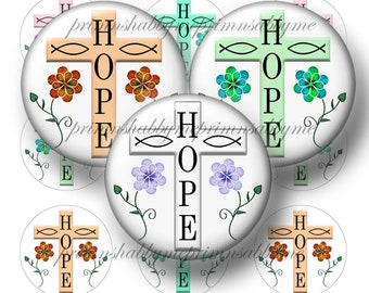 "CHRISTIAN, Cross, Hope,  Bottle Cap Images, 1 Inch Circles, Digital Collage sheet, 1"" Circles, Instant Download, Printable, Jewelry, Crafts"