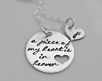 Personalized Silver Memorial Necklace - A Piece of My Heart is in Heaven - Remembrance Necklace - Memorial Jewelry - Miscarriage Necklace