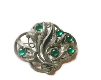 Art Nouveau Brooch Dark Silver with Pools of Green Cabochons