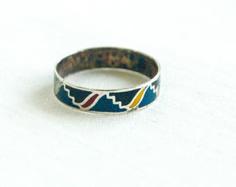 Mexican Ring Band Size 6 Colorful Enamel Vintage Sterling Silver Stackable Southwestern Tribal Design