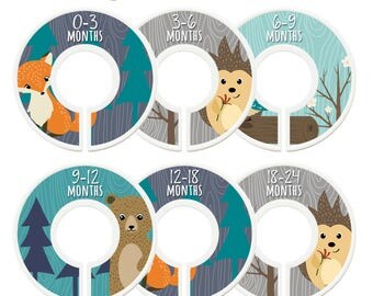 Closet Dividers, Assembled, Baby Closet Dividers, Closet Organizer, Woodland Nursery Decor, Boy, Fox, Bear, Owl, Woodland Animals