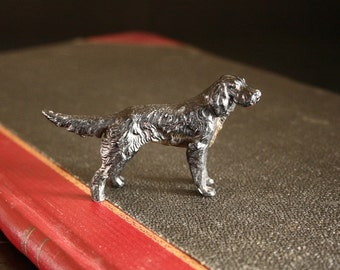 Sporting dog, longhair pointer, paperweight, miniature dog figurine, vintage black dog
