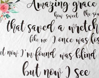 Amazing Grace Blanket, Cuddle Swaddle-double layered jersey-Lightweight, Baby Girl Bible verse, Scripture, Custom Song Lyric, Christian